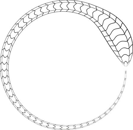 Free Clipart Of A black and white snake forming a round frame