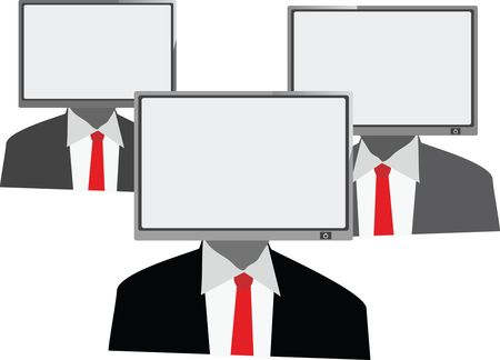 Free Clipart of a Group of Business Men With TV Heads