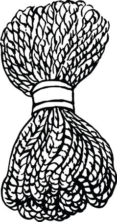 Free Clipart of a Black and White Bundle of Rope