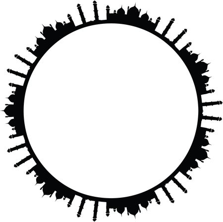 Free Clipart of a Round Frame of Mosques in Black and White