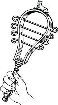 Free Clipart of a hand shaking a sistrum, black and white