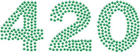 Free Clipart of a 420 design made of green Pot Leaves