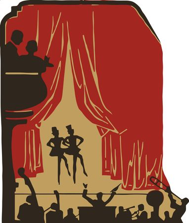 Free Clipart of a Crowd of Silhouetted People and a Band at a Show