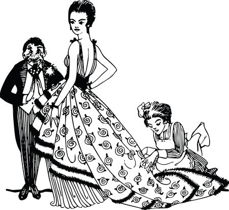 Free Clipart of a Retro Rich Woman Being Dressed By Servants