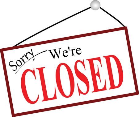 Free Clipart of a Sorry We're Closed Sign