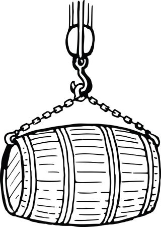 Free Clipart of a Wooden Barrel in a Sling Black and White