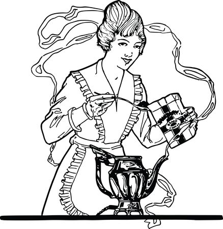 Free Clipart Of A Retro Black and White Woman Making Coffee