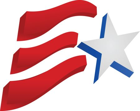 Free Clipart Of A Fourth of July Star and American Flag