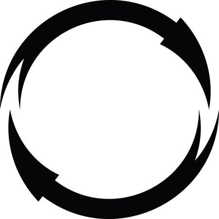 Free Clipart Of A Black and White Round Frame of Arrows