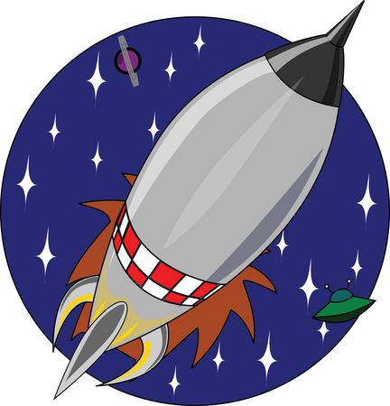 Free Clipart of a Shuttle Rocket in a Circle