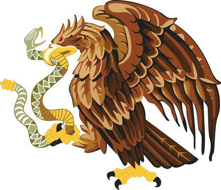 Free Clipart Of A Golden Mexican Eagle and Snake