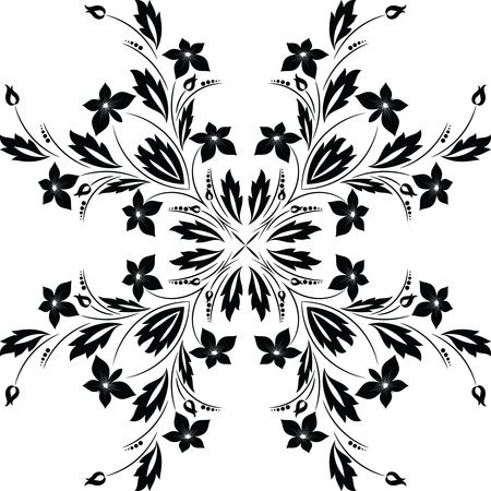 Free Clipart of Floral Vine Design Element - Black and White Version