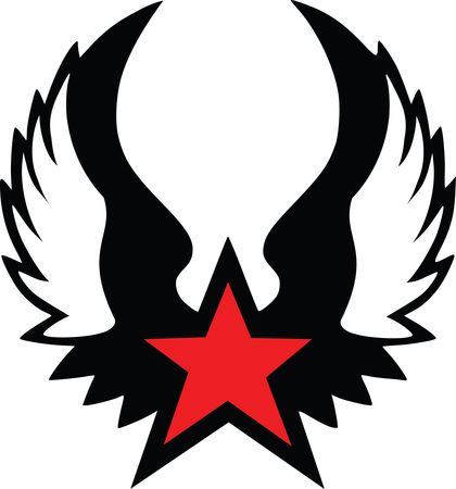 Free Clipart of a Red Star With Wings - Black and Red Version