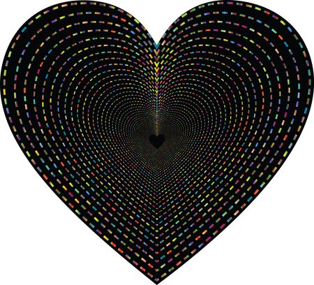 Free Clipart of a Love Heart Made of Lines Forming a Tunnel