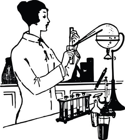 Free Clipart of a Vintage Woman Working in a Science Lab Black and White