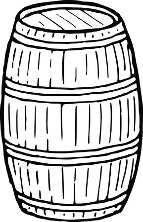 Free Clipart of a Wooden Barrel Black and White