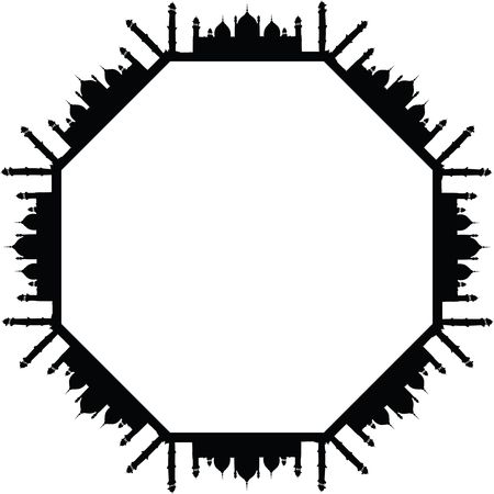 Free Clipart of an Octagon Frame of Mosques in Black and White