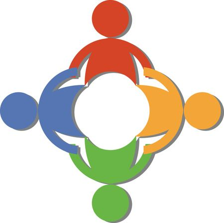 Free Teamwork Clip Art Of A Circle Of Diverse People Holding Hands