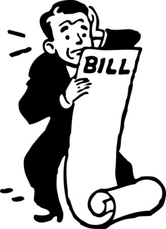 Free Retro Clipart Illustration Of A Worried Businessman Holding Large Bill Statement