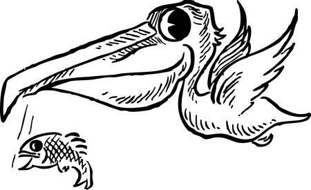 Free Retro Clipart Illustration Of A White Pelican ...