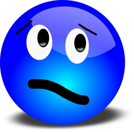 Confused Blue Smiley - Free 3D Vector Clipart Illustration