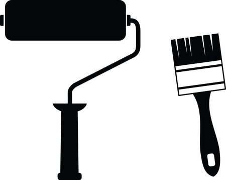 Free Clipart Of A Paint Roller and Brush