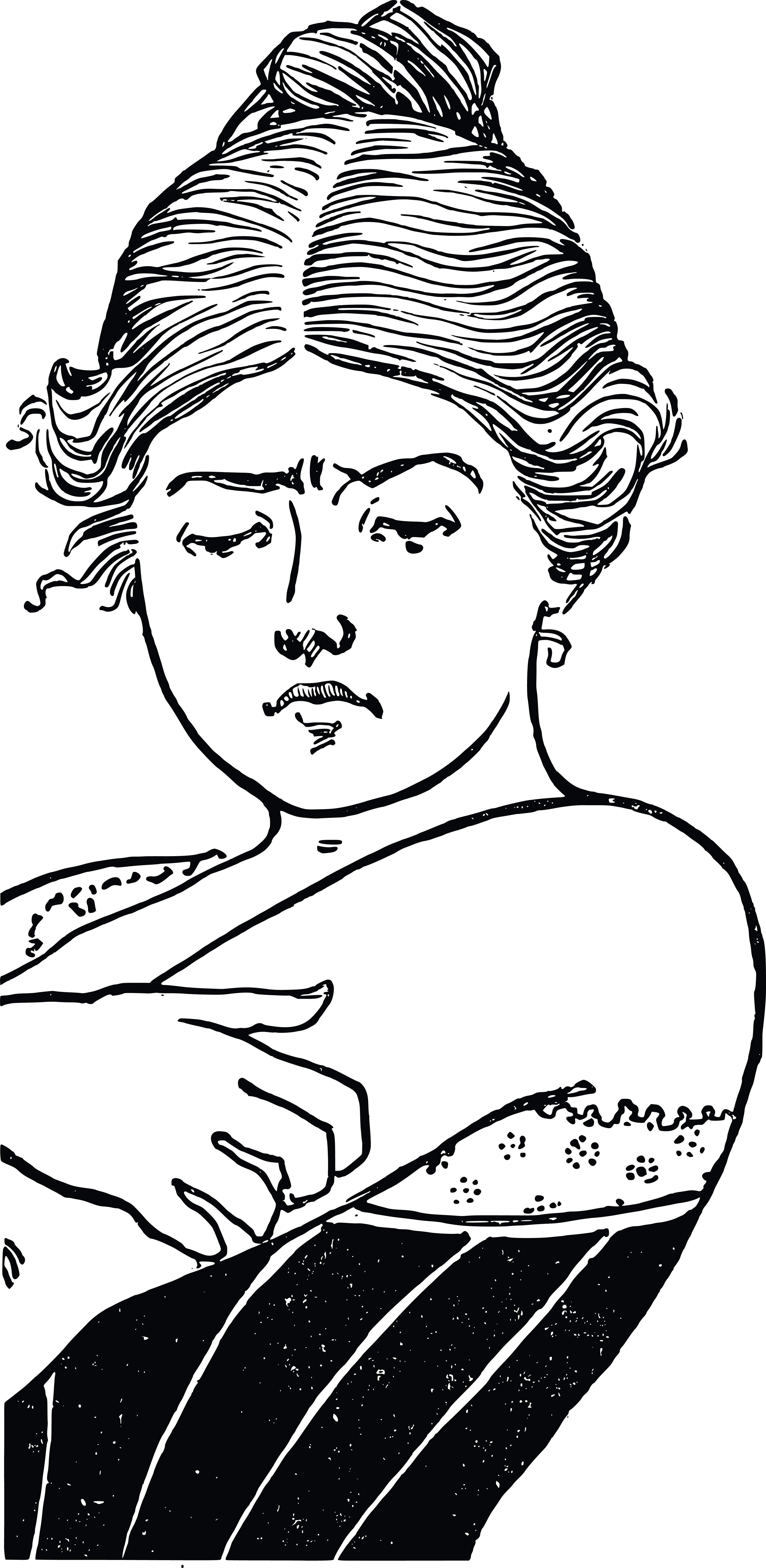 Free Clipart Of A Vintage Woman Scratching Her Arm