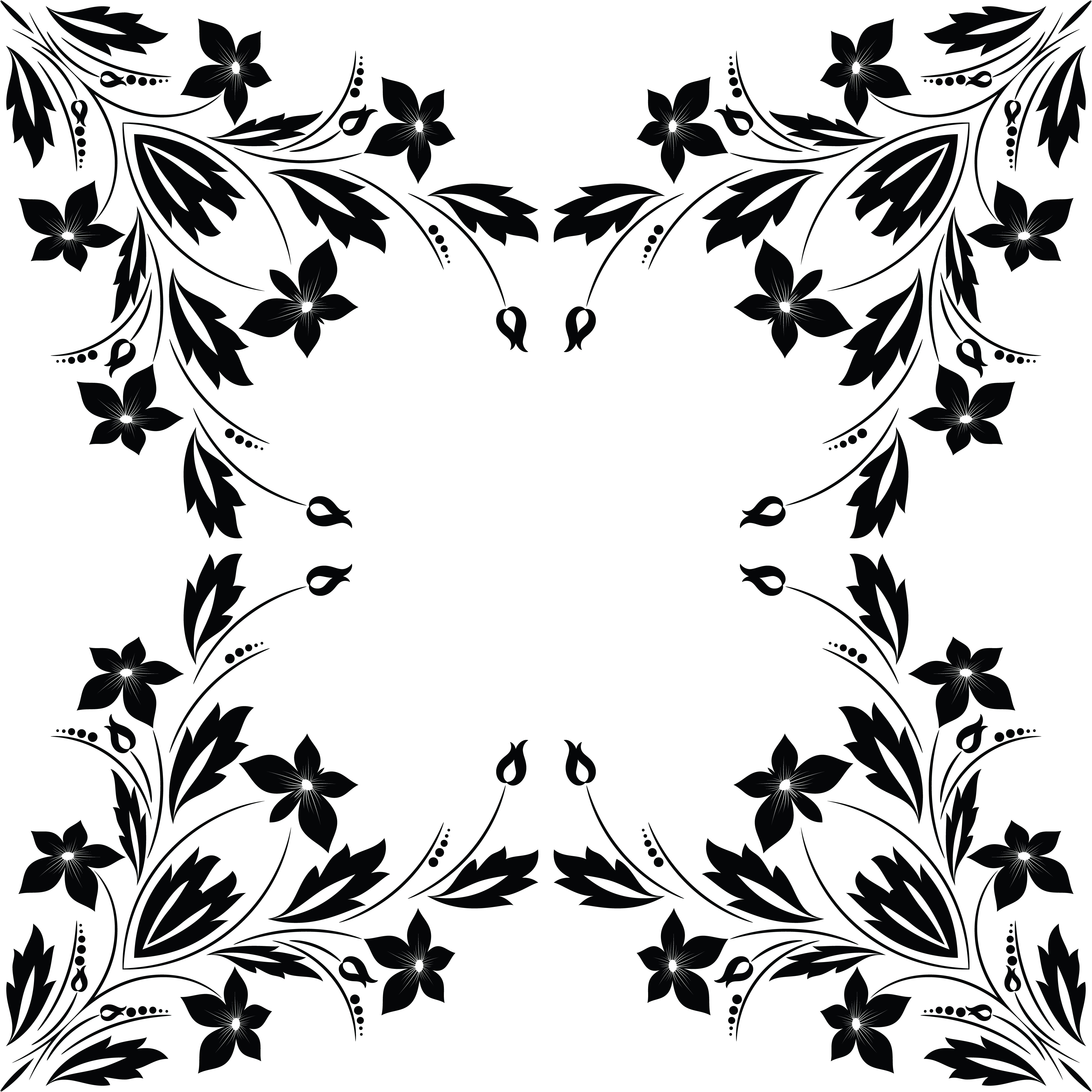 Free Clipart Of A Frame Of Flowers In Black And White