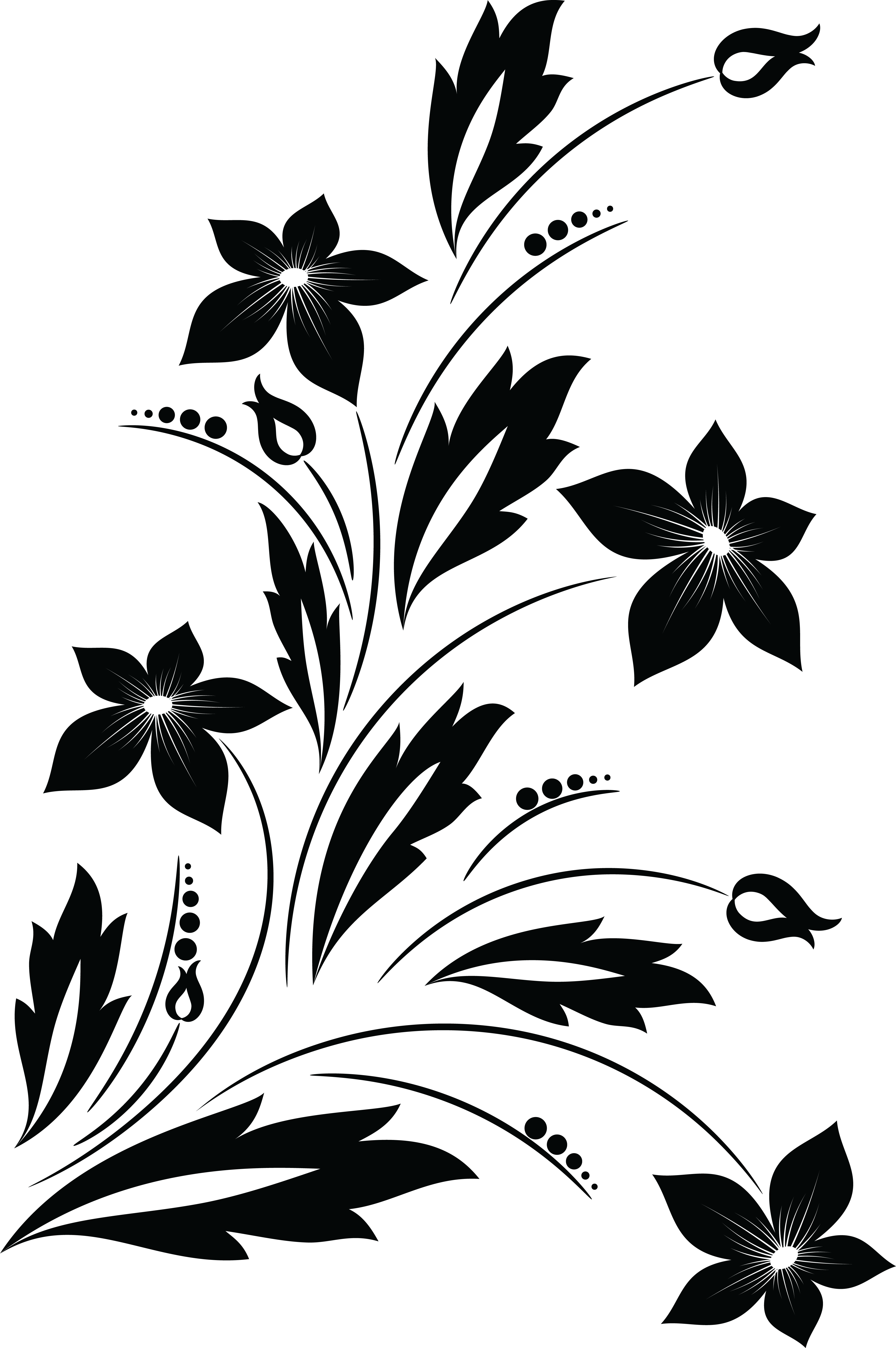 Free Clipart of a Black and White Floral Vine Design Element