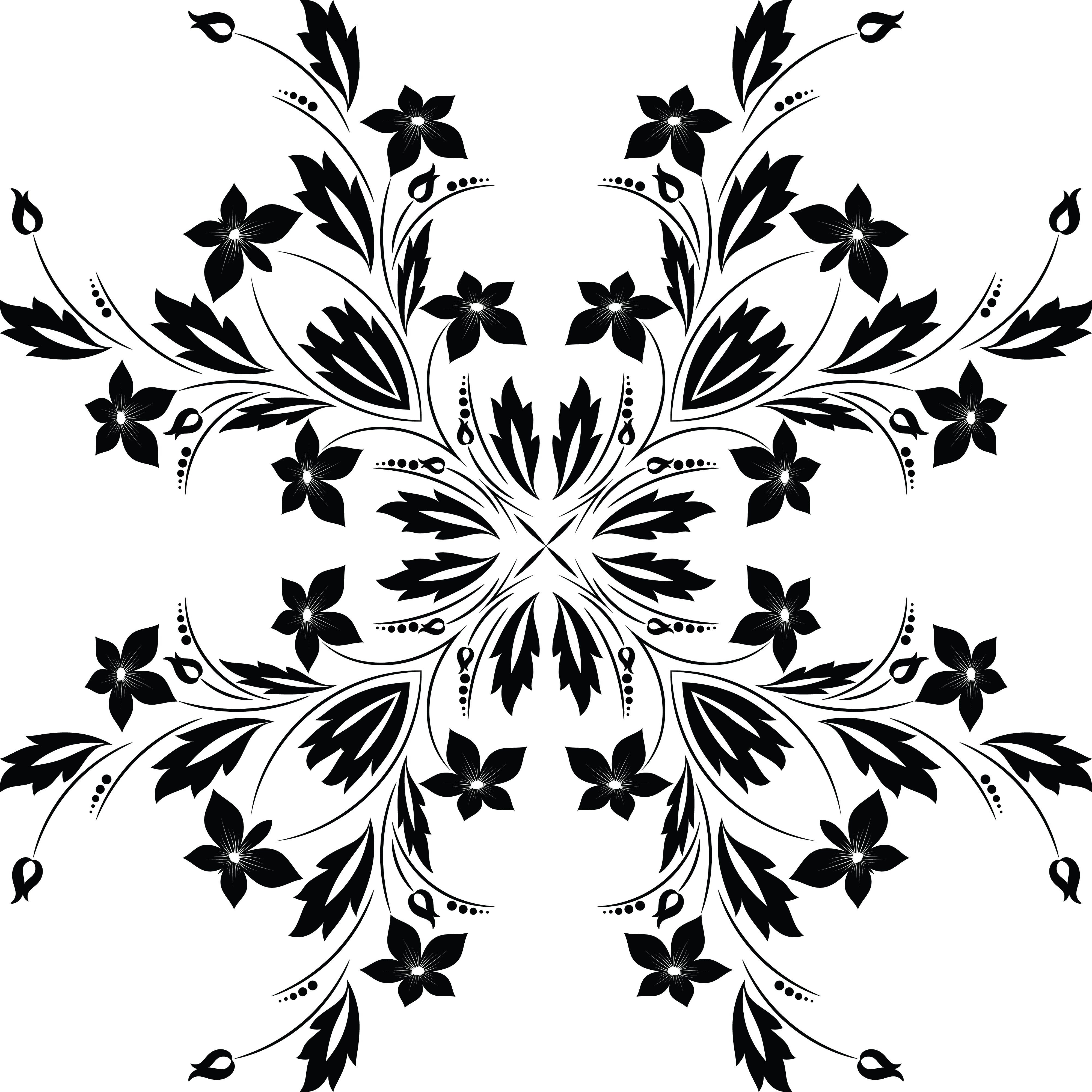 Free Clipart Of Floral Vine Design Element Black And White Version