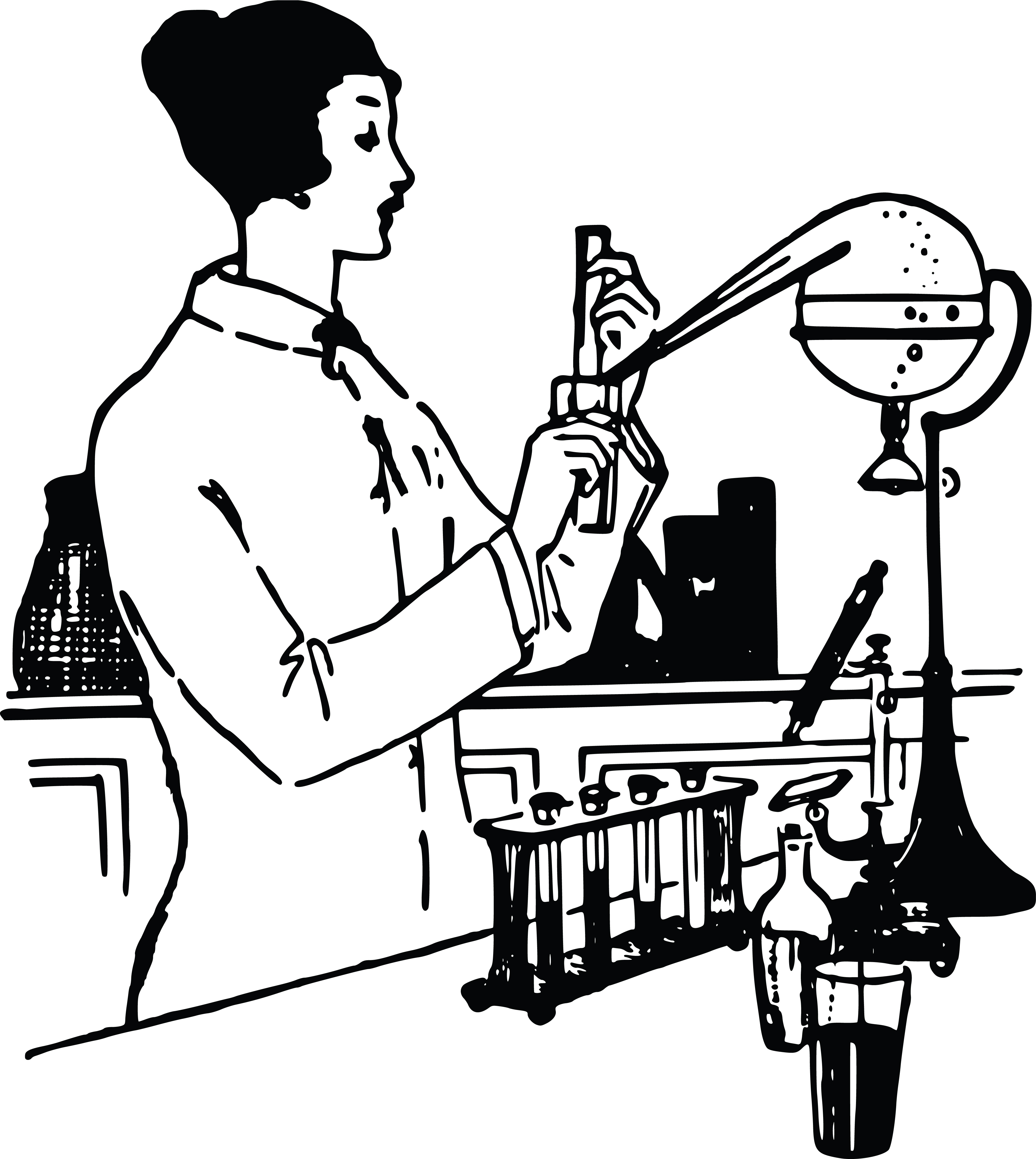 Free Clipart Of A Vintage Woman Working In Science Lab Black And White