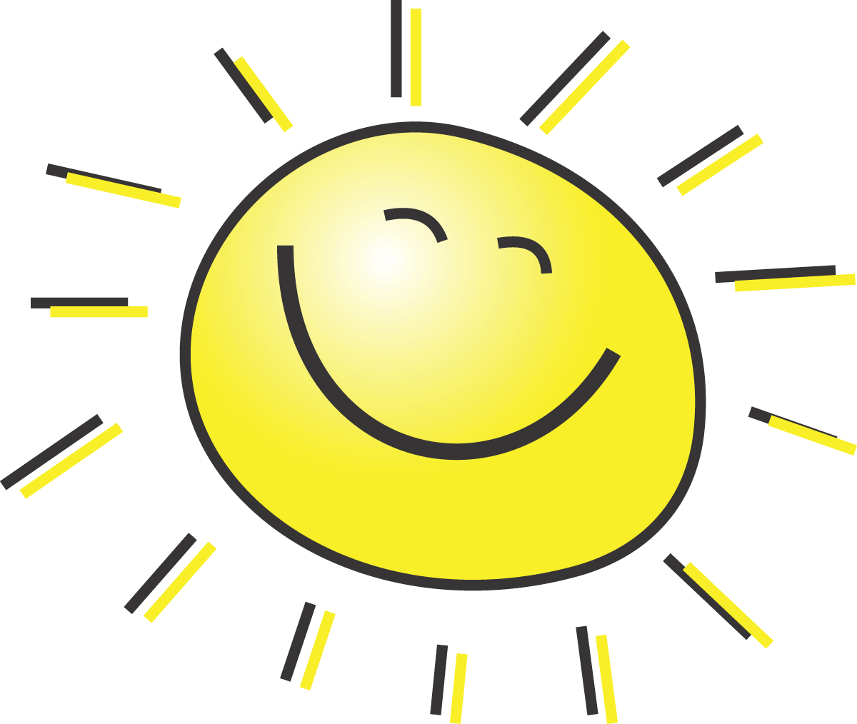 Free summer clipart illustration of a happy smiling sun by 00015