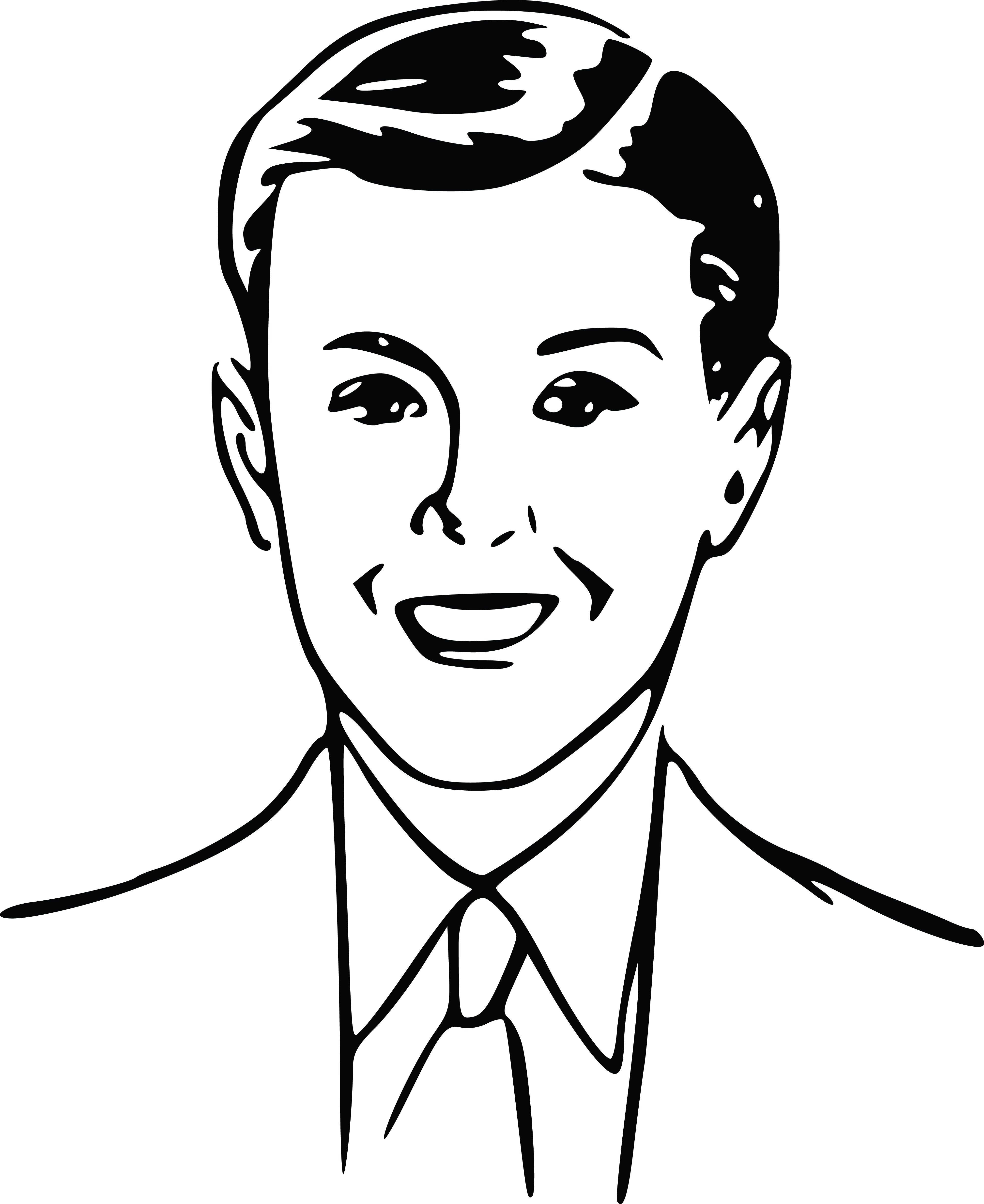 Free Clipart Of A Retro Boy, Black and White