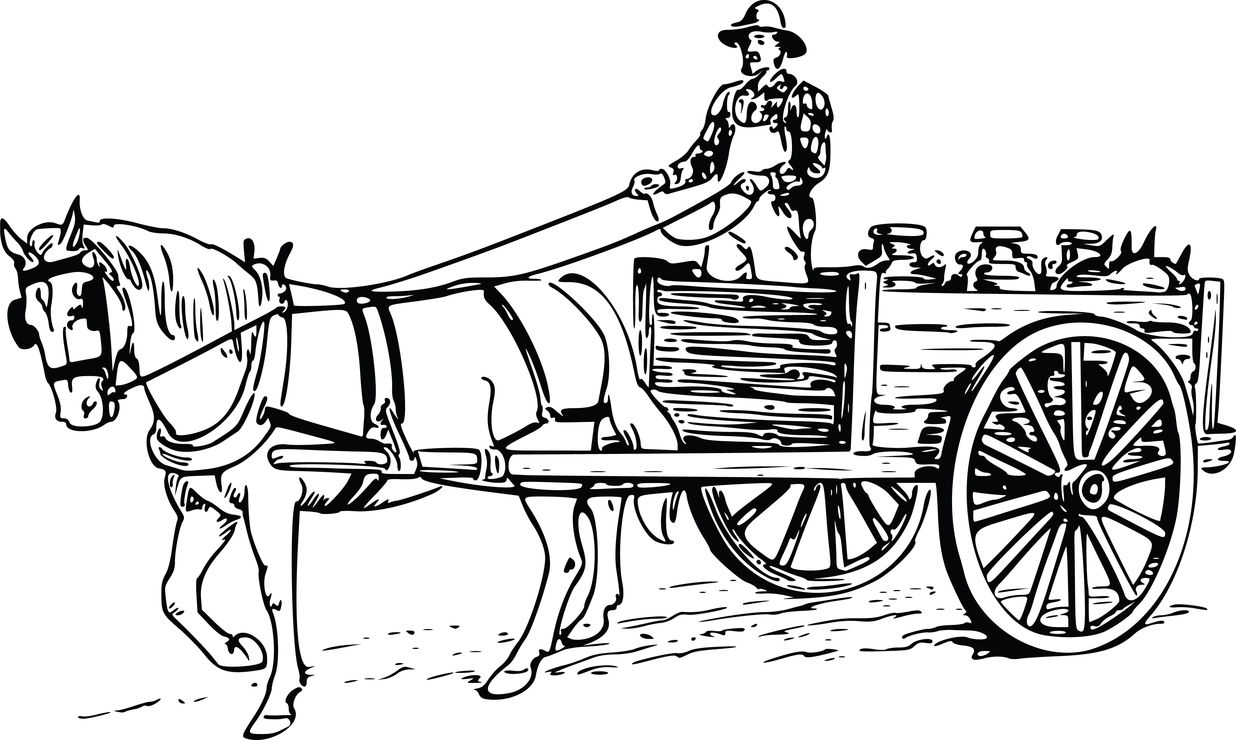 Clipart of a farmer driving a horse drawn cart free clipart of a farmer driving a horse drawn cart ccuart Choice Image