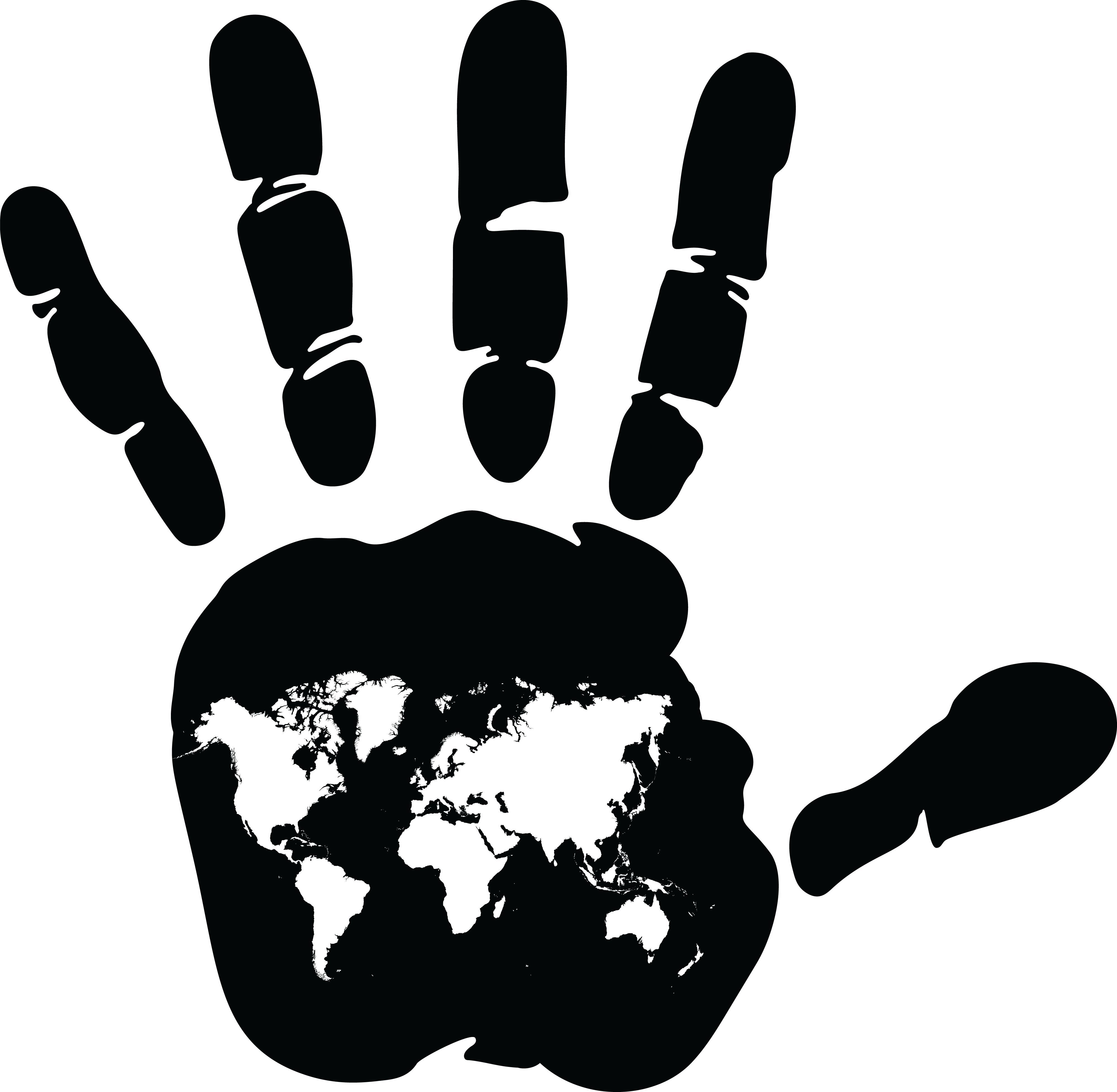 Free Clipart Of A Handprint With An Atlas