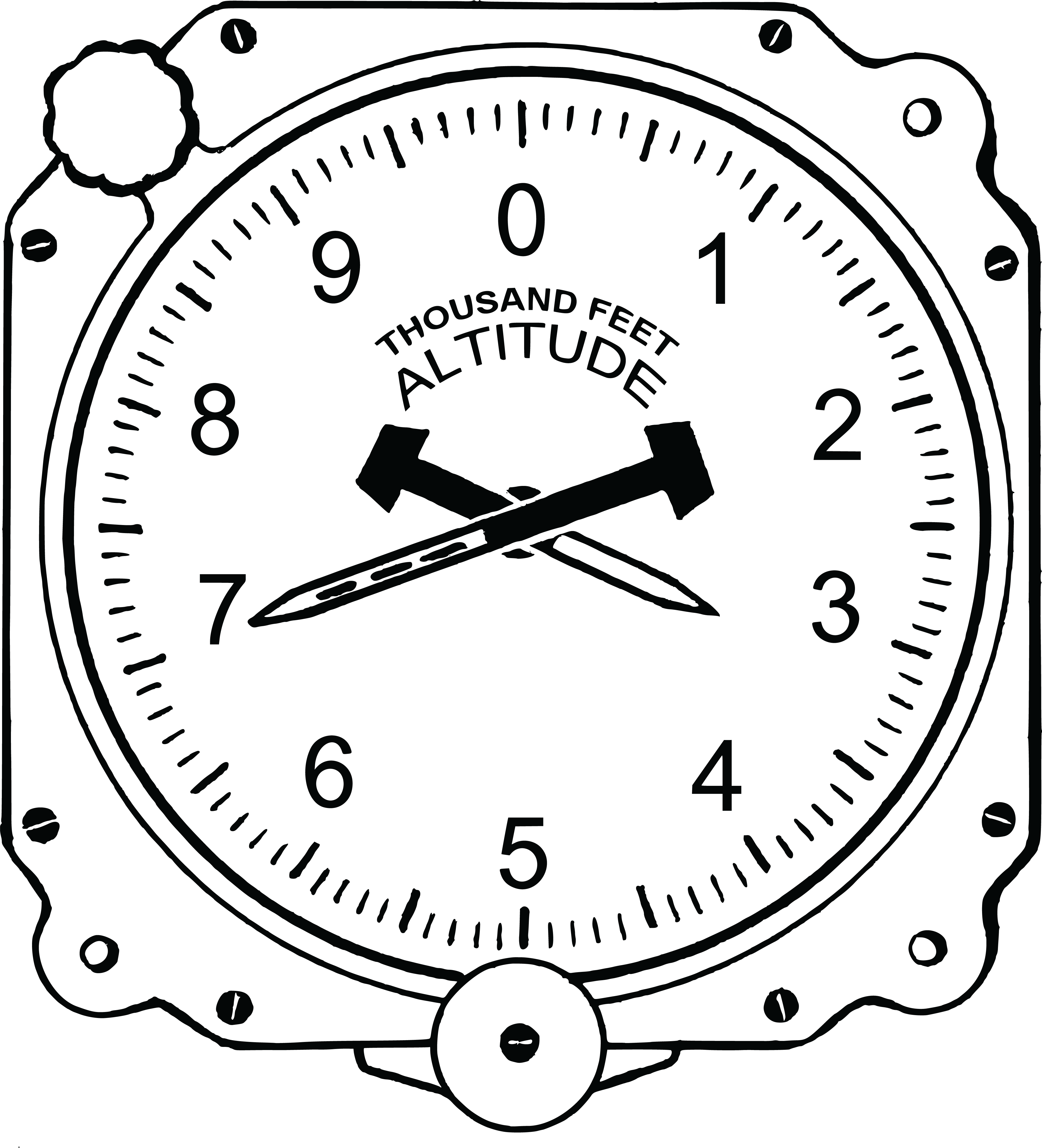 free clipart of an airplane altimeter