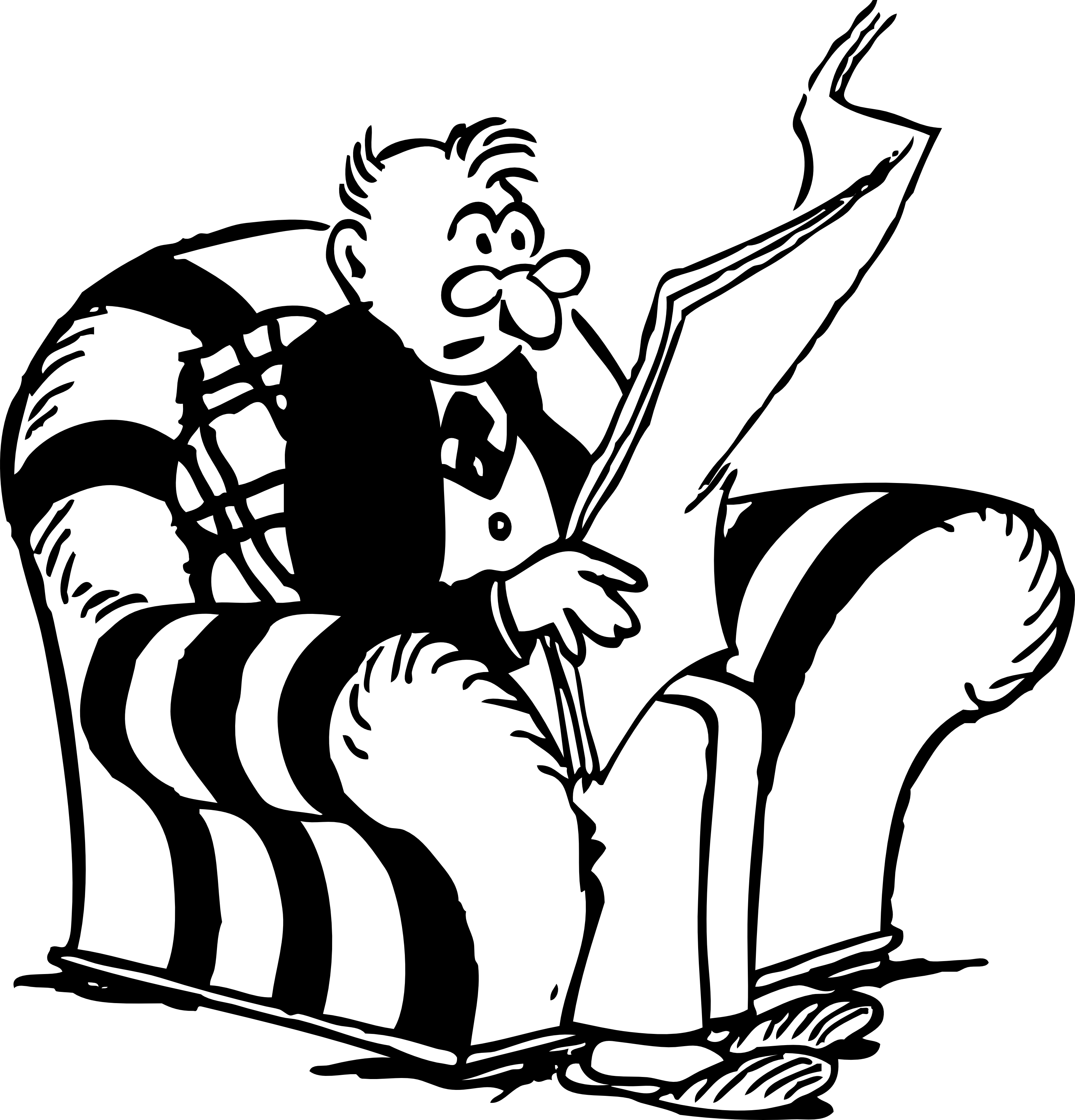 Retro Clipart Of A Man Reading Interesting News From A Newspaper