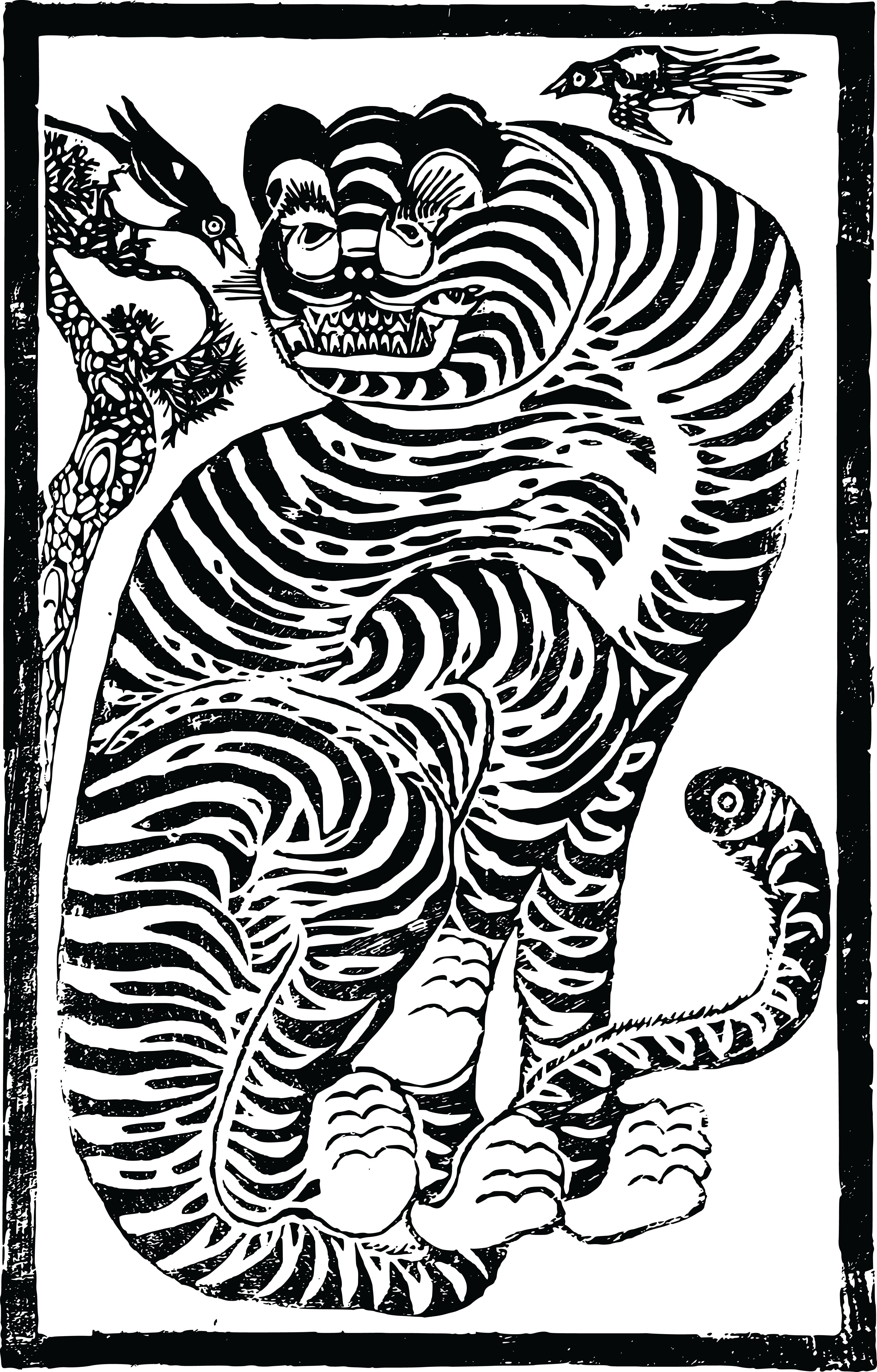 free black and white tiger clipart - photo #28