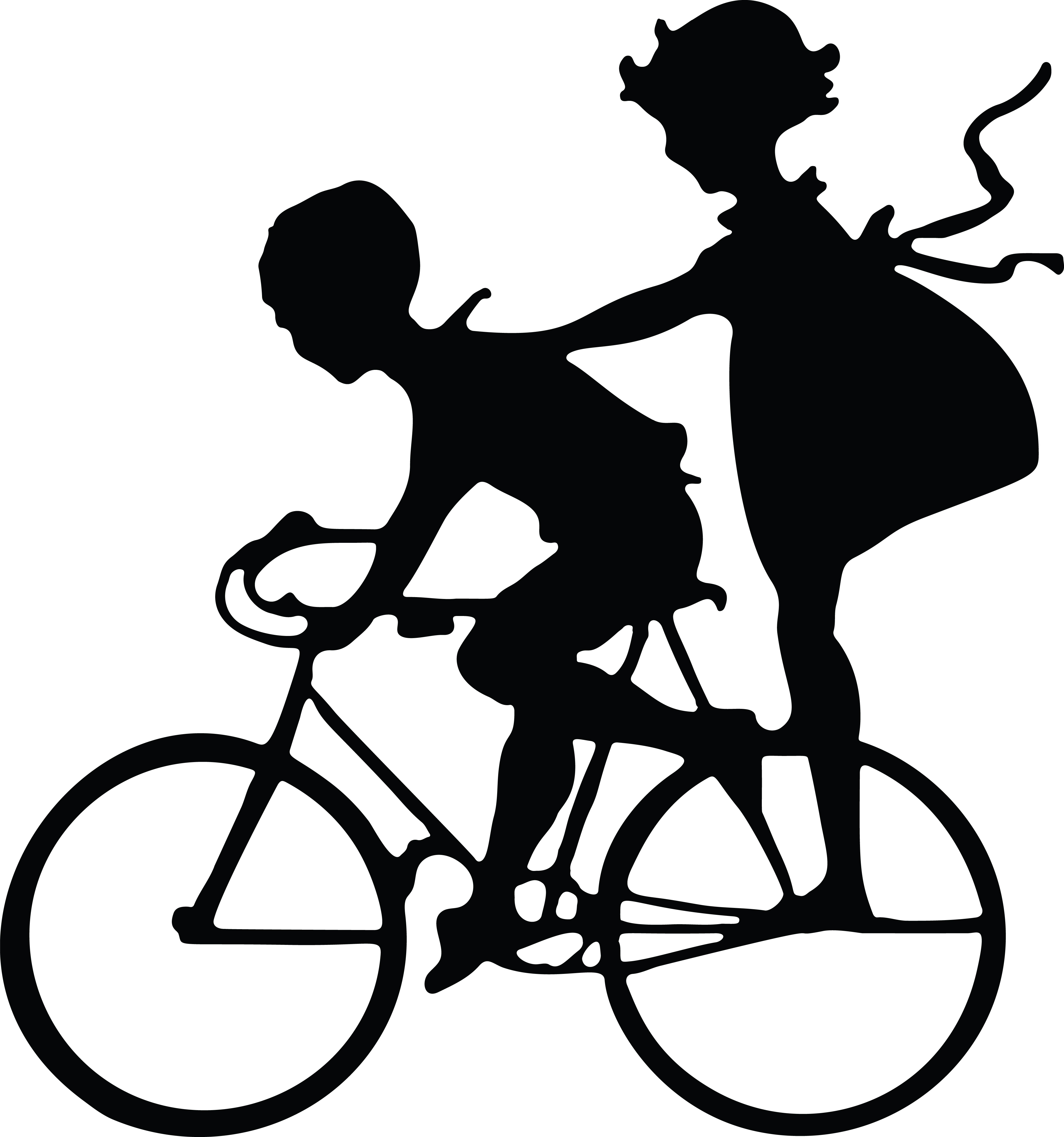clipart of a silhouetted girl riding on the back of a boys bike rh free clipartof com LEGO Clip Art Cute Bike Clip Art