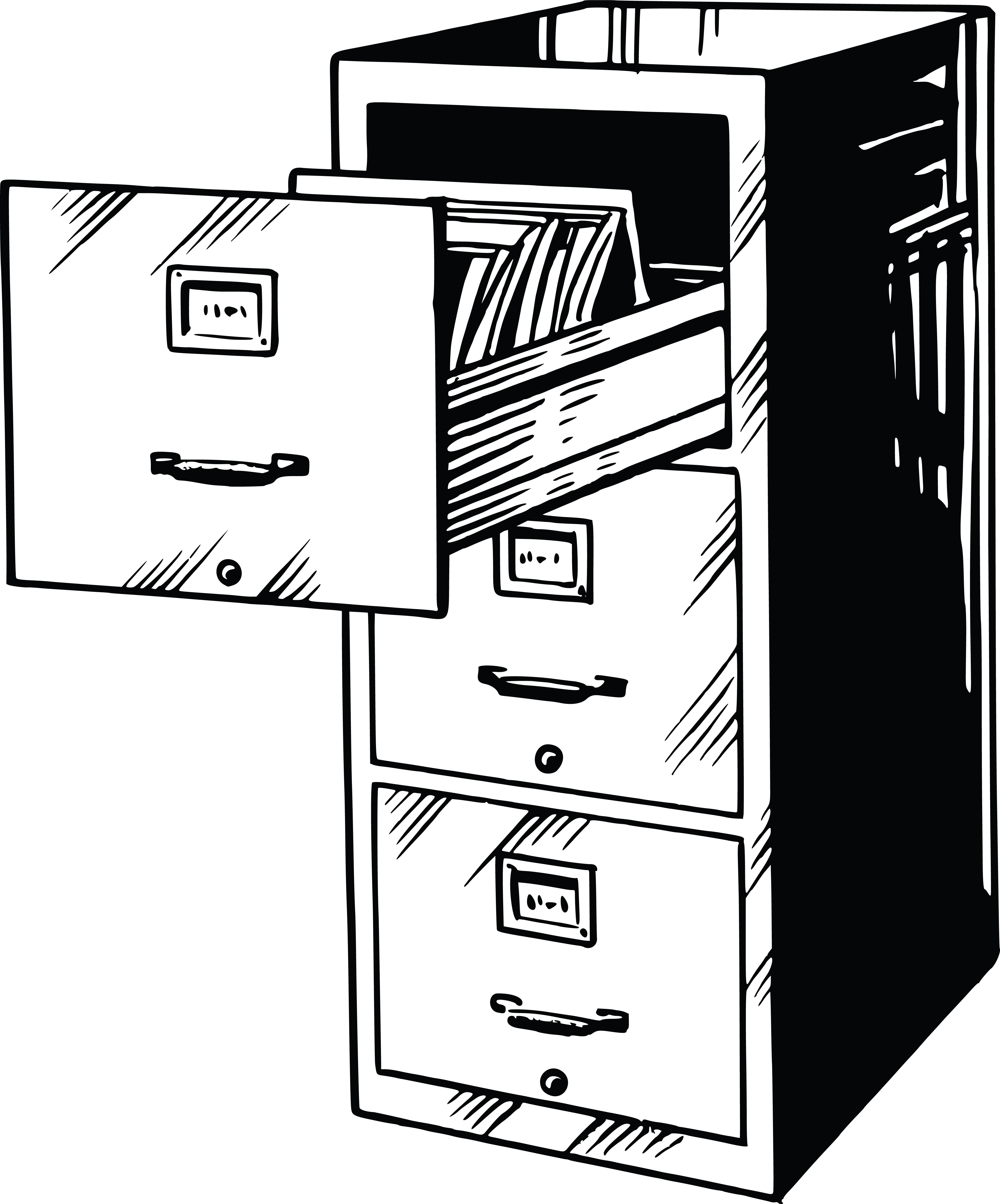 File Cabinet Clip Art: Free Clipart Of A Black And White Filing Cabinet