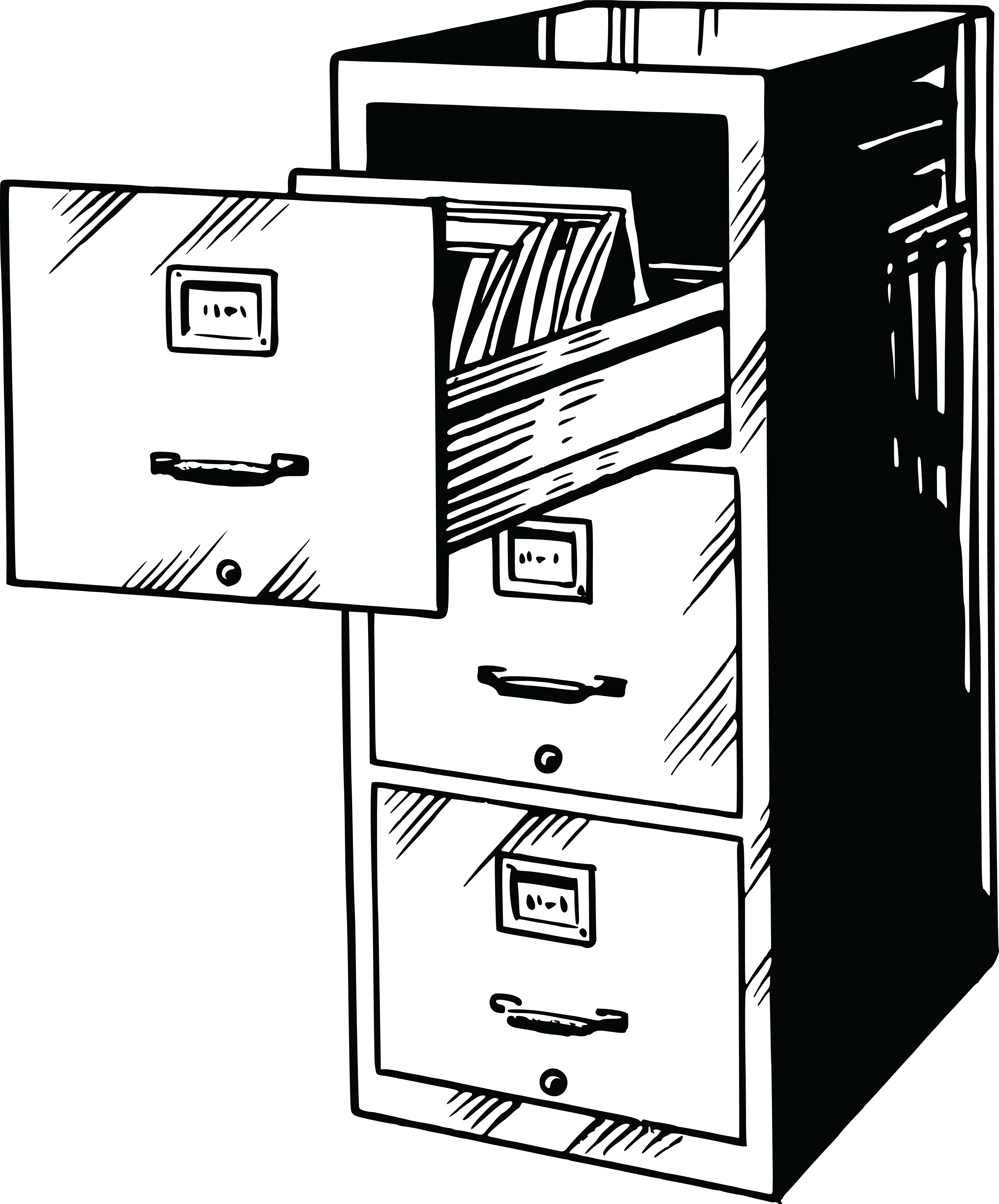 Free Clipart Of A Black and White Filing Cabinet