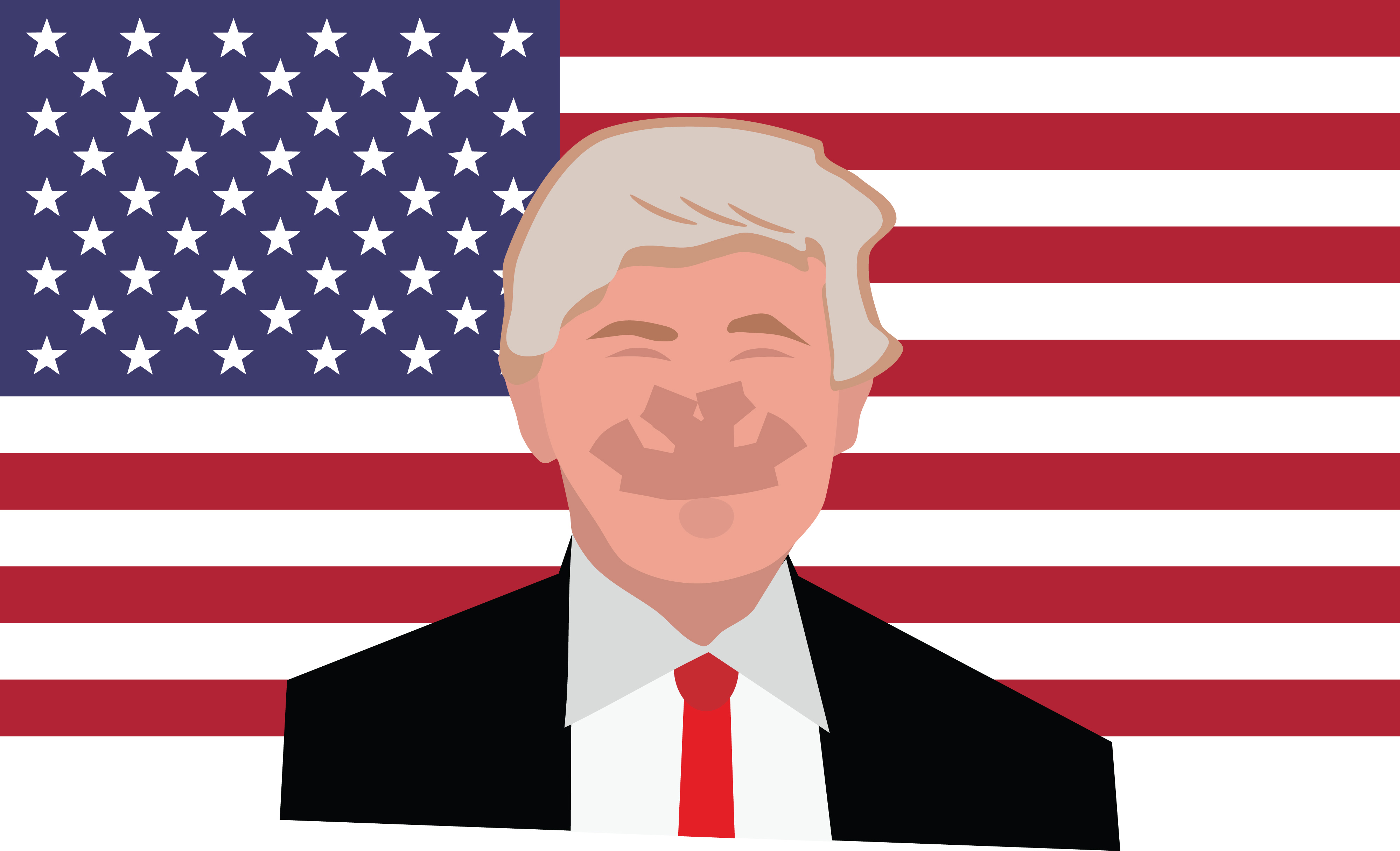 Free Clipart Of Donald Trump And An American Flag