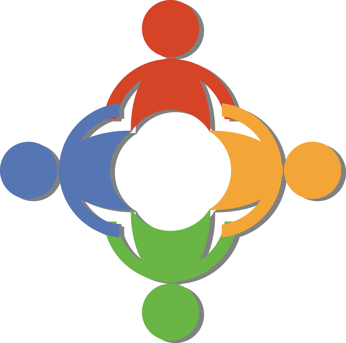 Free teamwork clip art of a circle of diverse people holding hands by