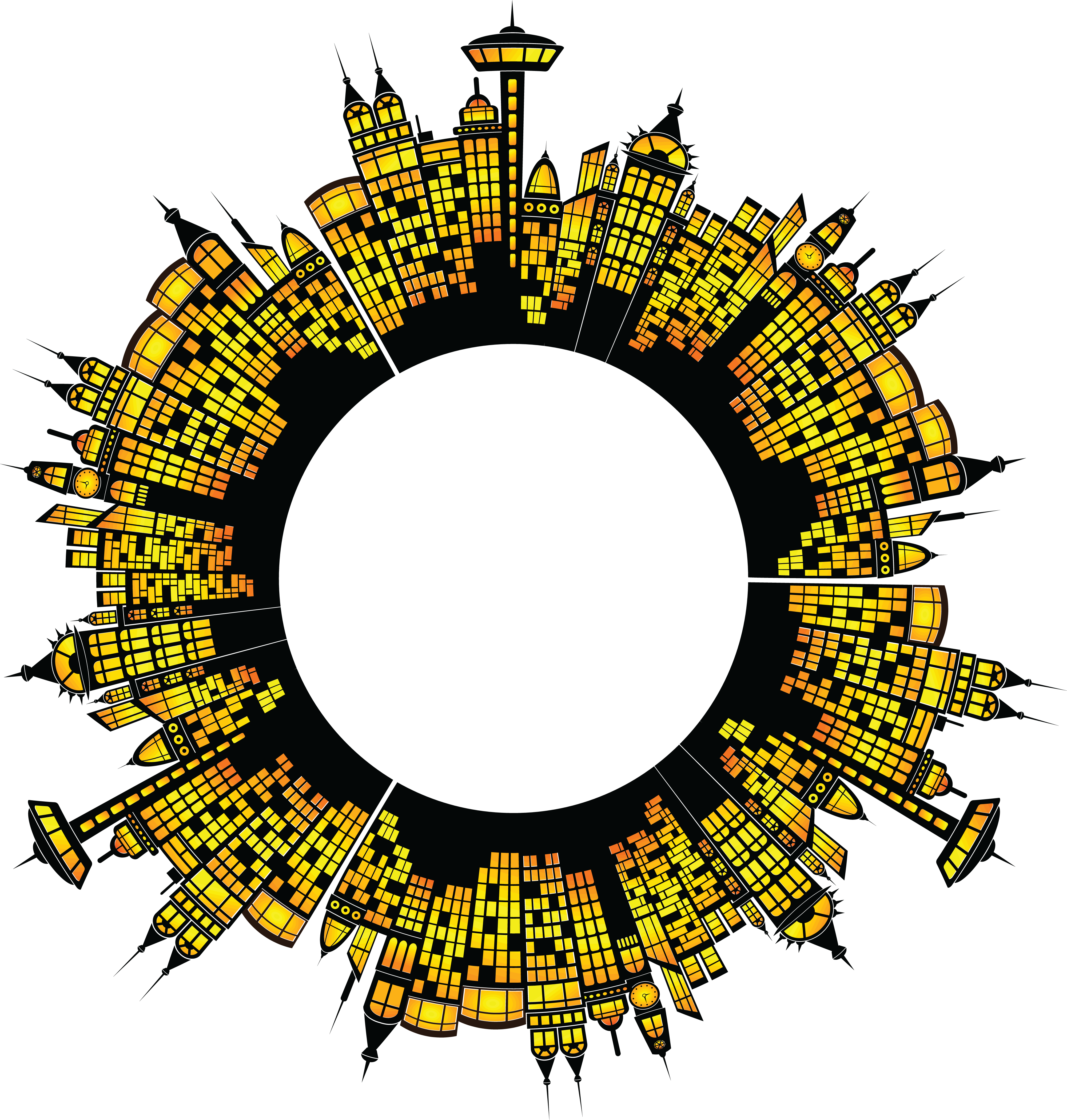 Free Clipart of a round frame of Glowing City Buildings