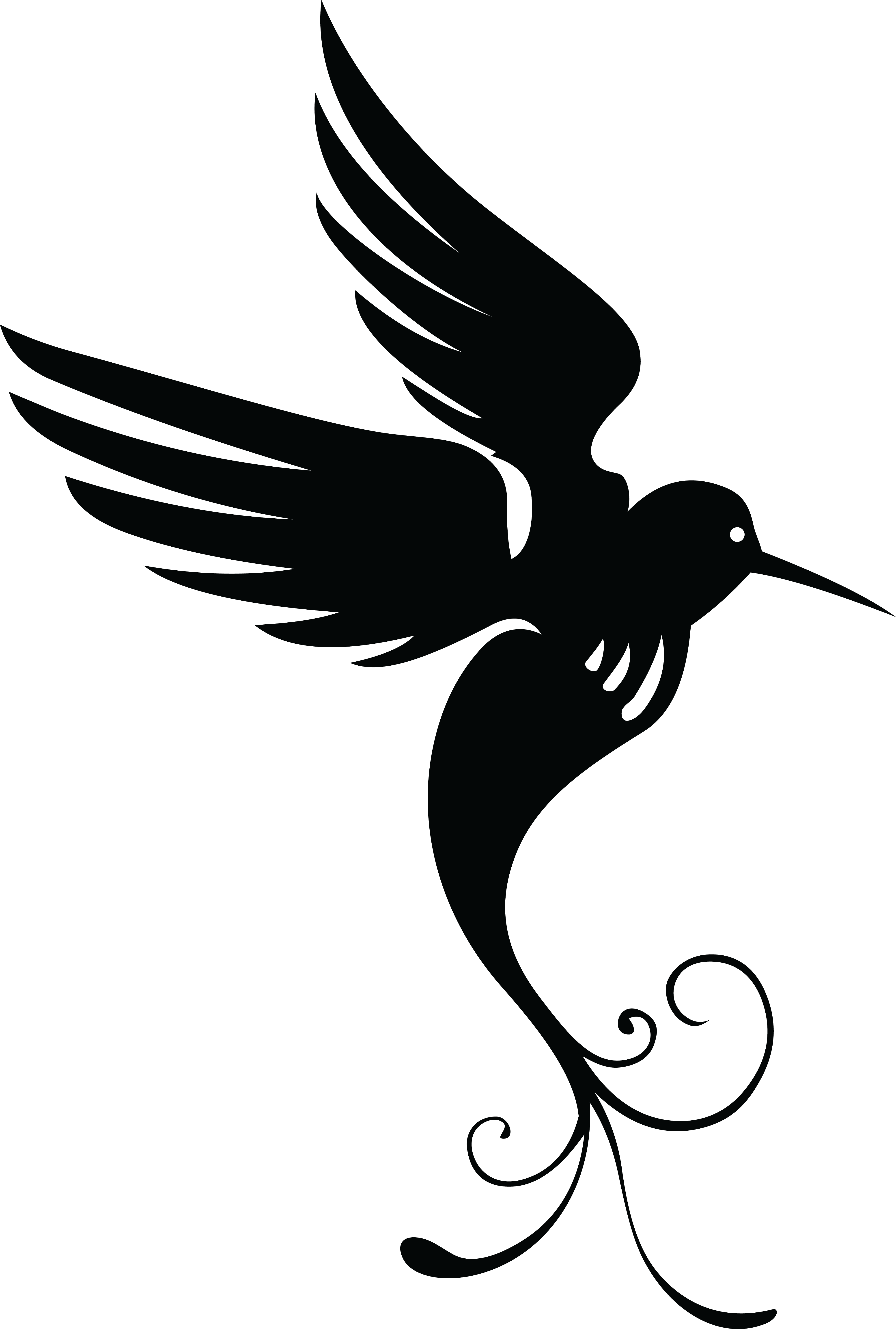 Free Clipart Of A Black And White Hummingbird Silhouette