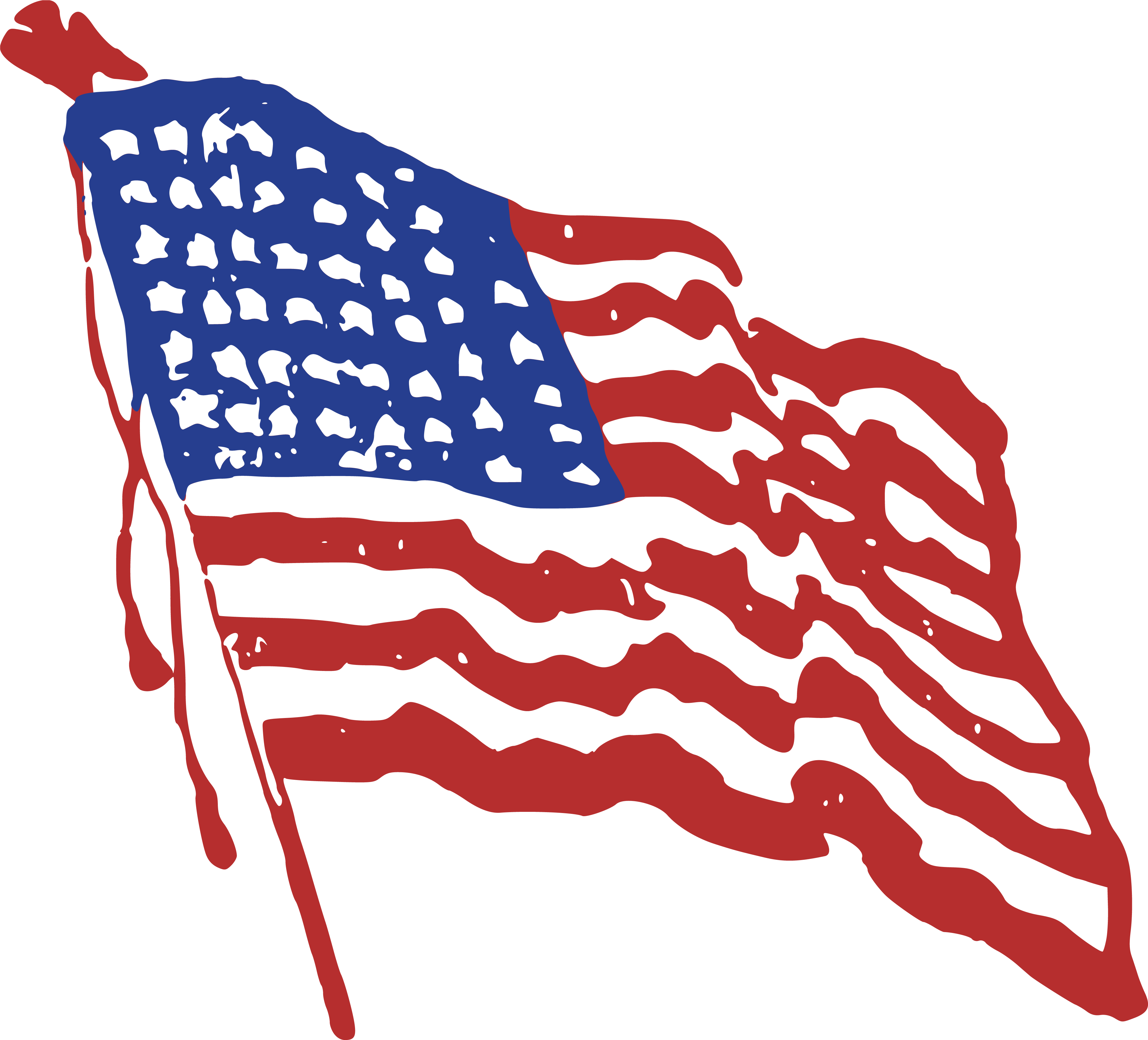 Free Clipart Of A Rippling American Flag