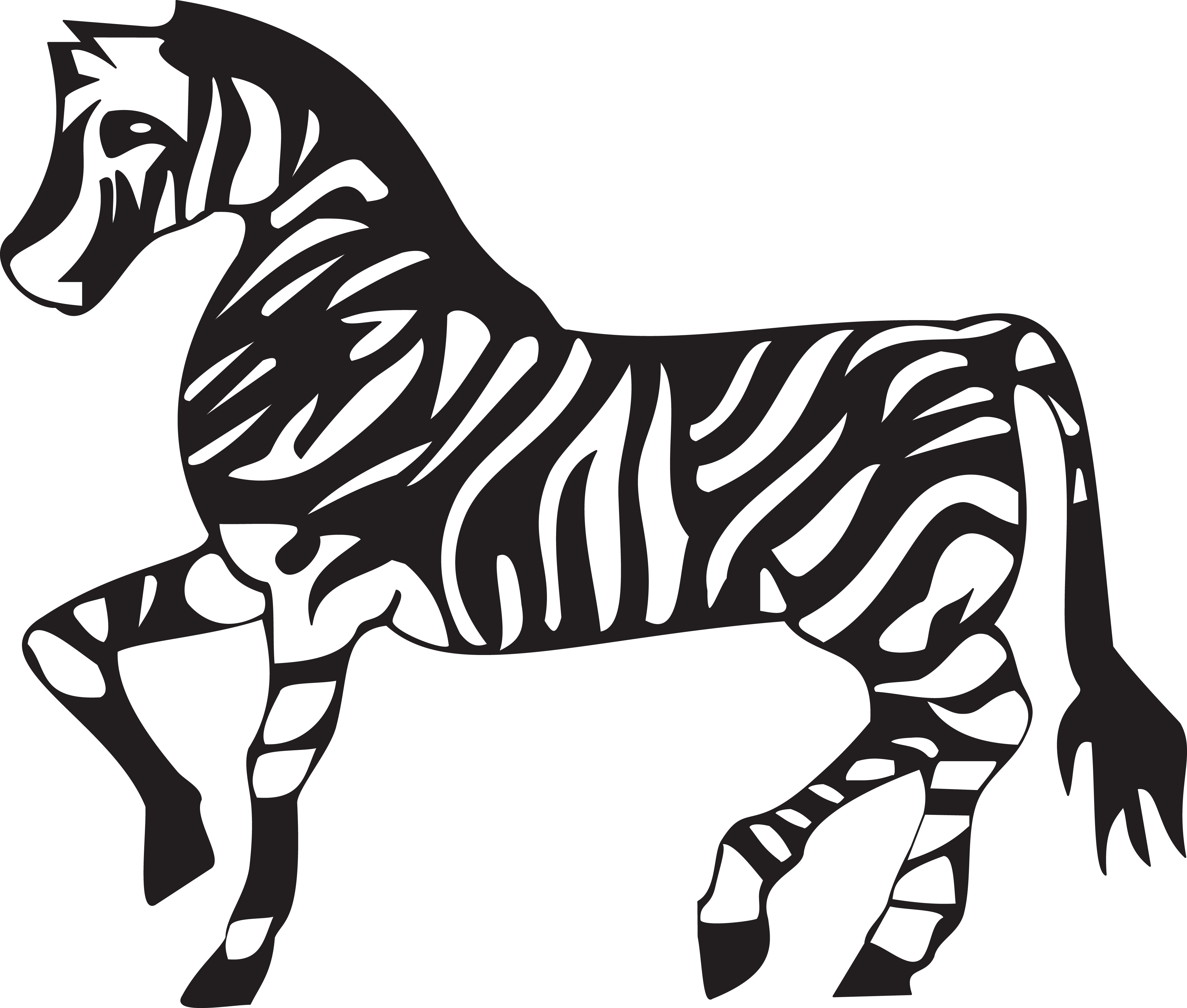 free clipart of a black and white walking zebra rh free clipartof com  free clipart zebra print