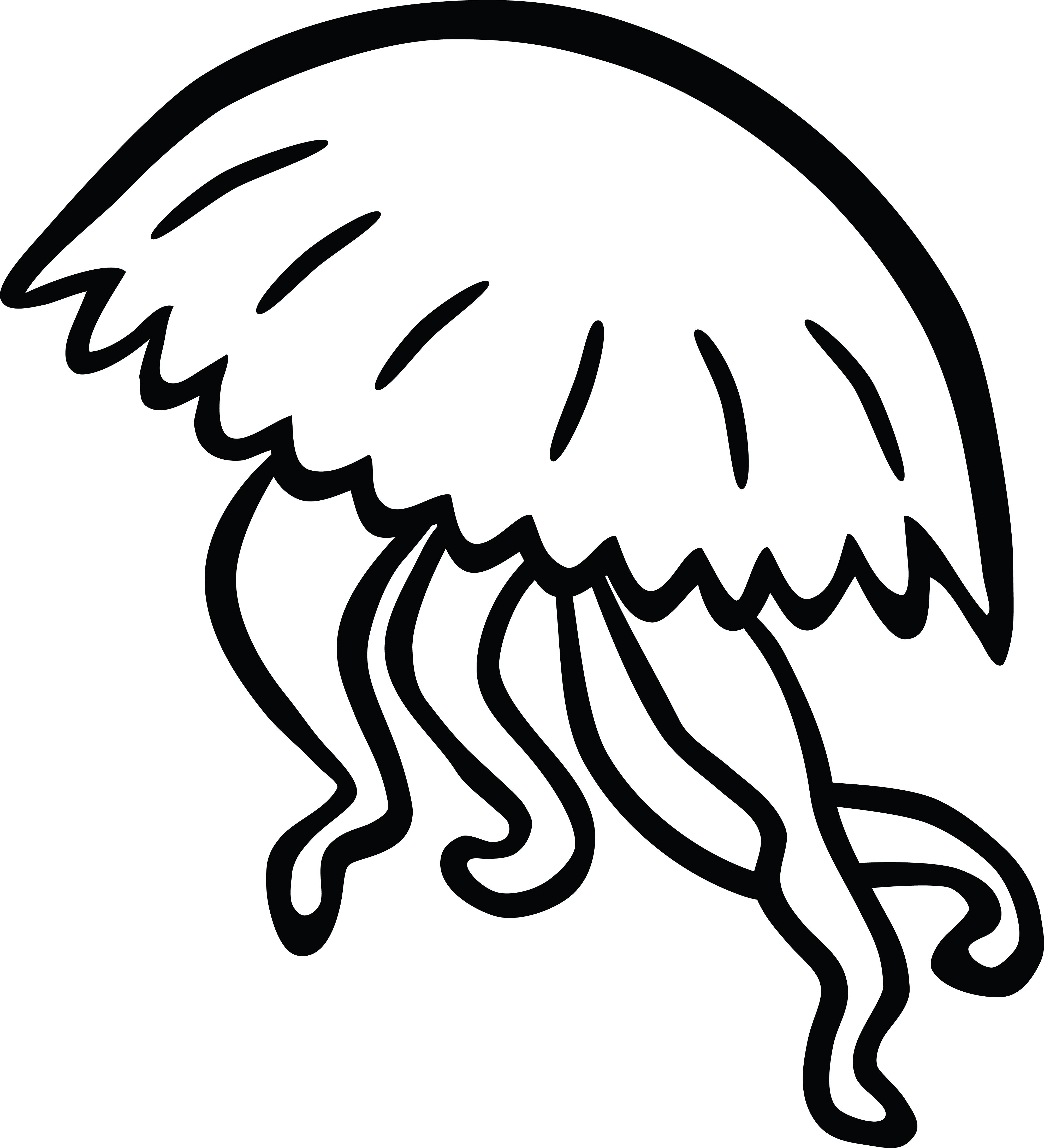 Free Clipart Of A black and white jellyfish - photo#4