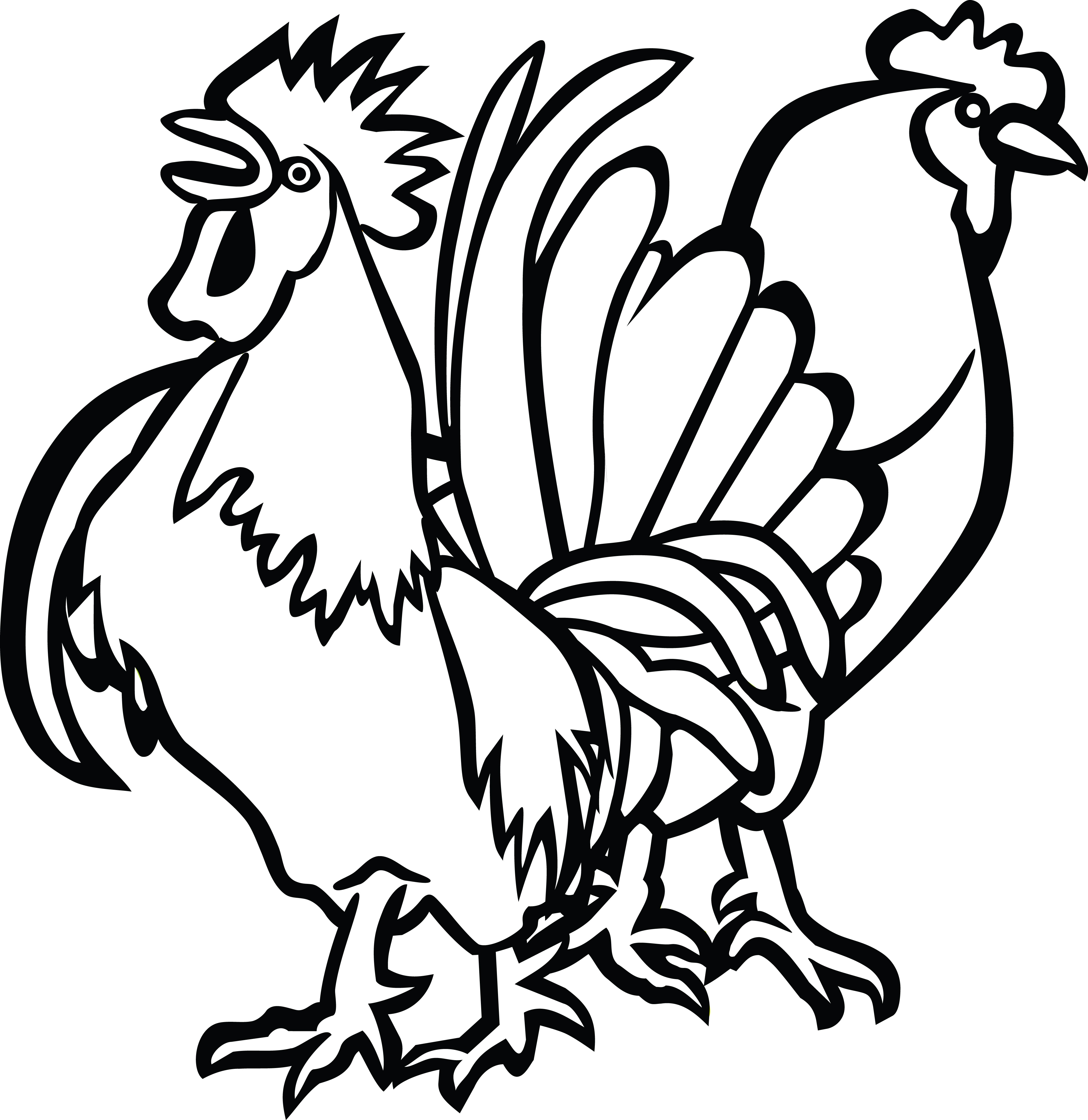 clipart of a rooster and hen