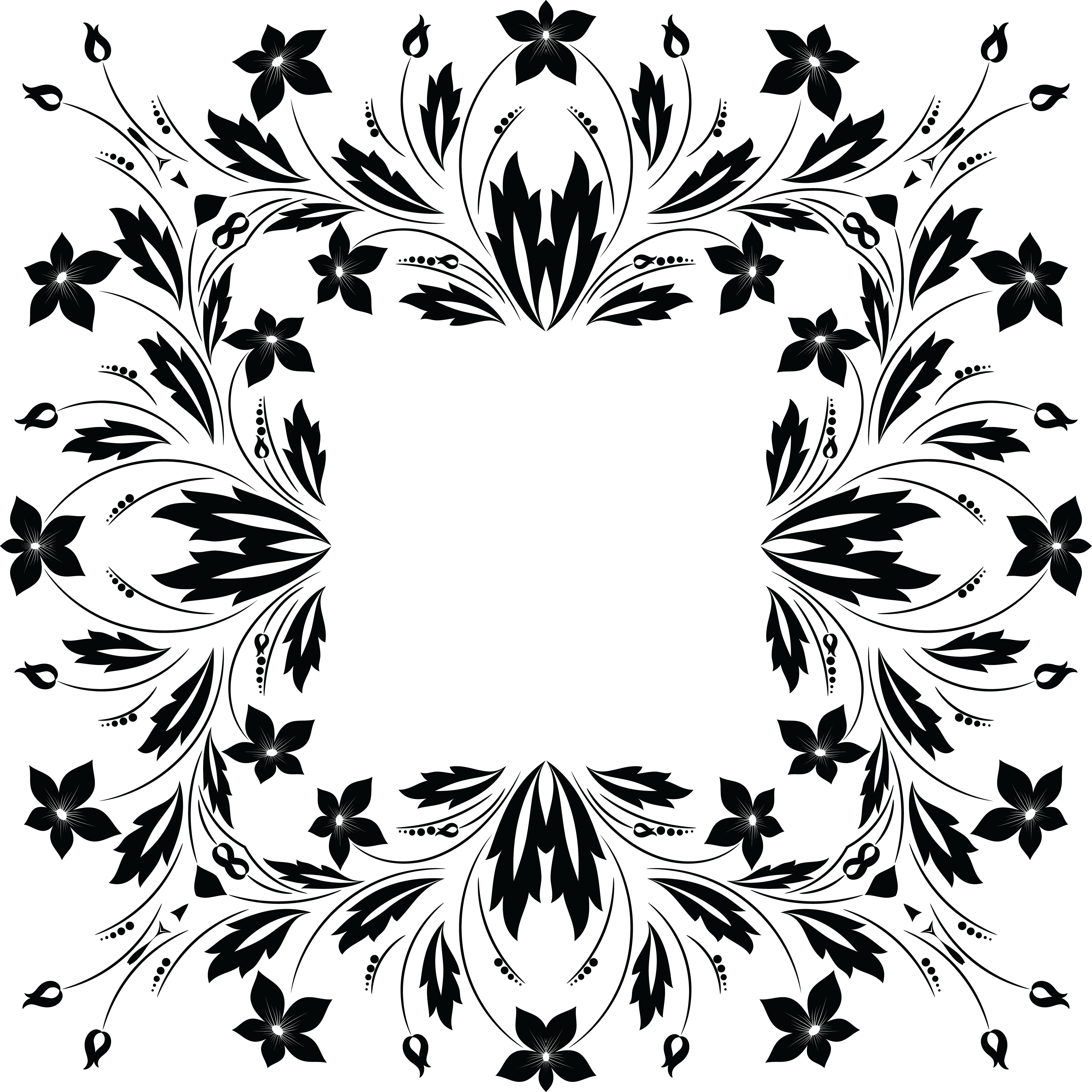 Free Clipart Of A Square Frame Of Flowers In Black And White